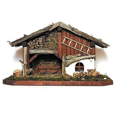 Krippenstall aus Holz und Naturmaterialien 004