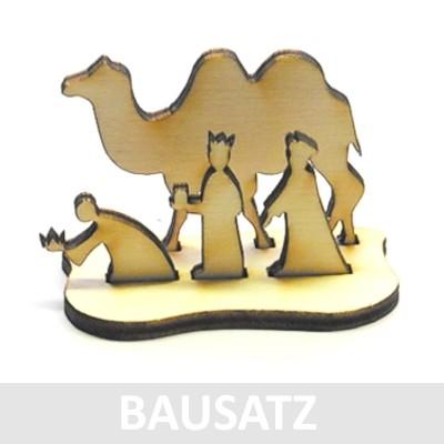 """Mini-Krippe """"Könige mit Kamel"""" - Holz BAUSATZ 016"""