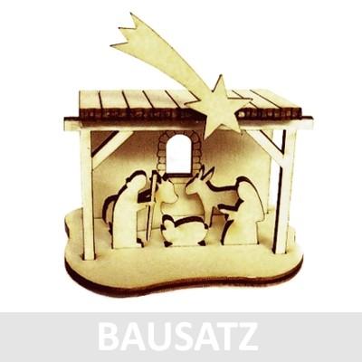 "Mini-Krippe ""Stall mit Hl. Familie"" - Holz BAUSATZ 014"